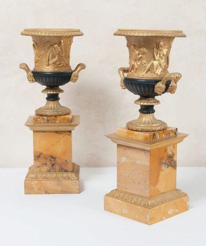 Paire de vases en bronze et bronze doré montés...