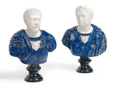 Paire de bustes des empereurs Domitien et...