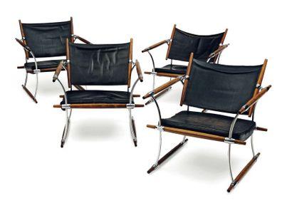 Jens H. Quistgaard (1919-2008) Paire de fauteuils « cigare » ou « Stokkestol » à...