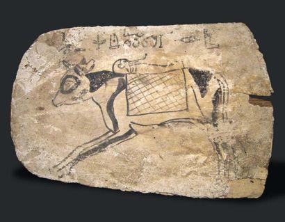 Panneau de sarcophage (pieds) peint de la...