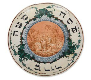 Plat de Seder en céramique de Sarreguemines....