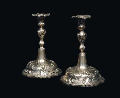 Paire de chandeliers de Shabbat, en argent,...