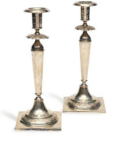 Paire de chandeliers de Shabbat en argent....