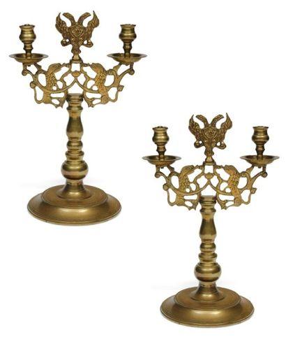 Paire de candélabres de Shabbat en bronze....