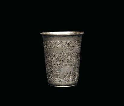 Gobelet de Havdalah en argent gravé de motifs...