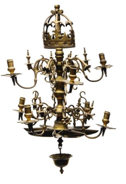 Lampe de Shabbat en laiton. Fance, XIXe siécle....