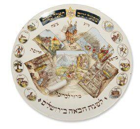 Plat de Seder décoré des scènes des douze...