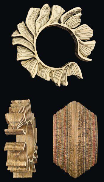 """ANTHONY ROUSSEL Bracelet """"Branch bangle"""" Années 2000 Fines feuilles de bois (bouleau)..."""