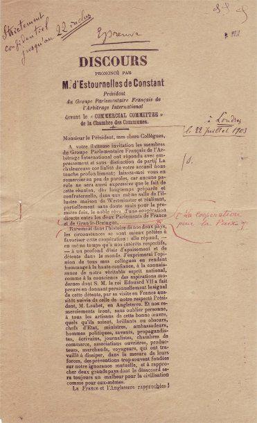 ESTOURNELLES, PAUL BALLUET, BARON DE CONSTANT DE REBECQUE D' (1852- 1924)