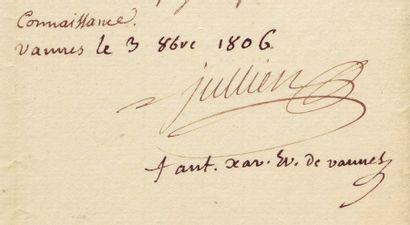 MORBIHAN, 1806. JOSEPH LOUIS VICTOR JULLIEN DE BIDON (1764-1839, préfet du Morbihan, et ANTOINE XAVI