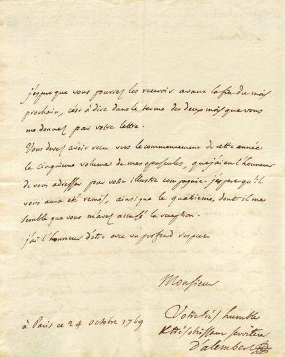 ALEMBERT, JEAN LE ROND, DIT D' (1717-1783) Mathématicien et physicien. Lettre autographe...