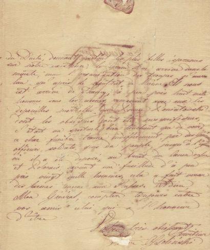 PONIATOWSKI, OBSÈQUES DU PRINCE JOSEPH Lettre autographe signée du comte VICTOR OSSOLINSKI...