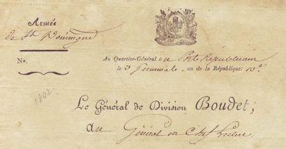 SAINT-DOMINGUE, ARMÉE DE 3 pièces (1 L.A.S. et 2 L.S.), 5 pages in-4 Port-Républicain...