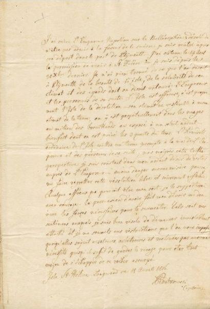 SAINTE-HÉLÈNE 1816, ILE DE Pièce autographe signée de l'officier polonais, CHARLES-FRÉDÉRIC...