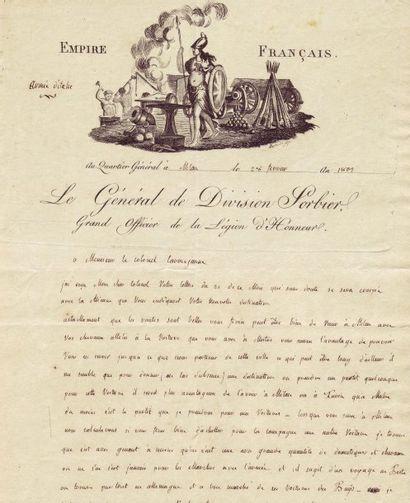 SORBIER, JEAN BARTHÉLEMOT DE (1763-1827) 5 lettres autographes signées + 4 lettres...