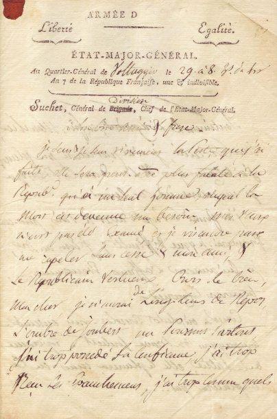 SUCHET LOUIS-GABRIEL (1772-1826) Lettre autographe signée, 3 pages in-4 Voltaggio,...