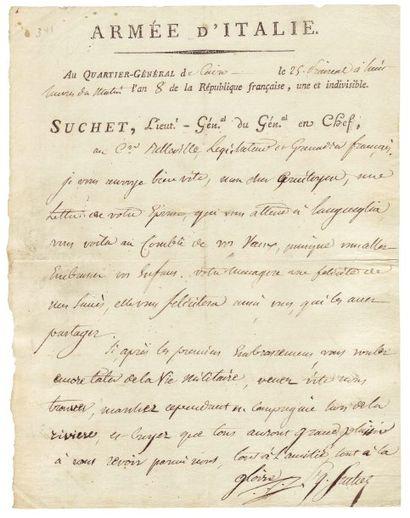 SUCHET LOUIS-GABRIEL (1772-1826) 2 pièces (L.A.S. et L.S.), 2 pages in-8 ou in-4...