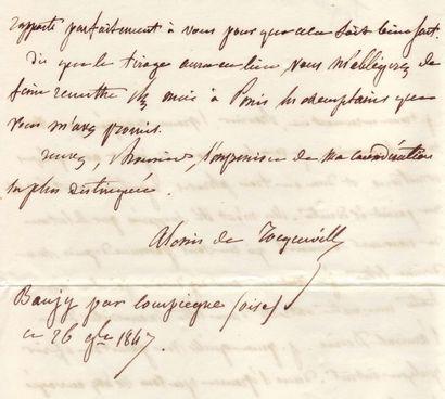 TOCQUEVILLE, ALEXIS DE (1805-1859) Historien et homme politique. Lettre autographe...