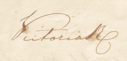 VICTORIA D'ANGLETERRE (1819-1901) Reine dès 1837. Pièce signée, 1 page et demie St...