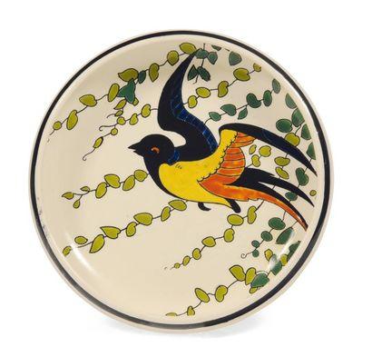 Coupe à décor polychrome d'oiseaux stylisés...