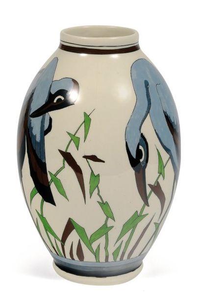 Vase à décor polychrome d'oiseaux stylisés,...