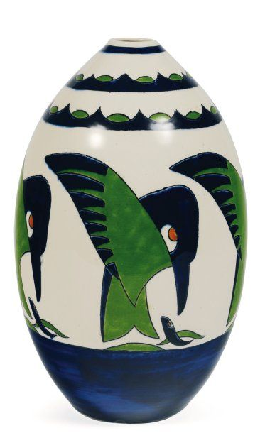 Rare vase à décor polychrome