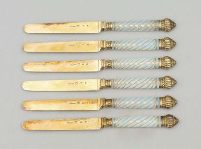 Rare et Magnifique suite de six couteaux...