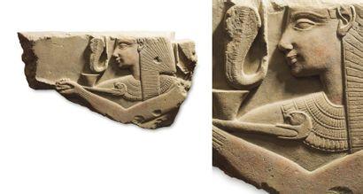 Séthi Ier offrant l'encens. Rare relief sculpté...