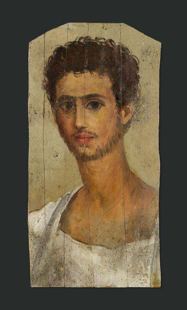 Portrait du Fayoum. Il est peint, sur fond...