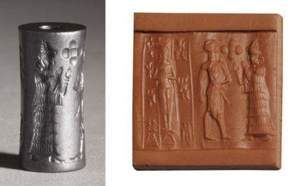 Sceau-cylindre gravé d'une scène représentant...