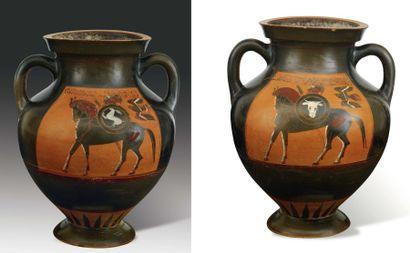 Amphore attribuée au Peintre de Tarquinia RC 3984. Amphore à figures noires peinte...