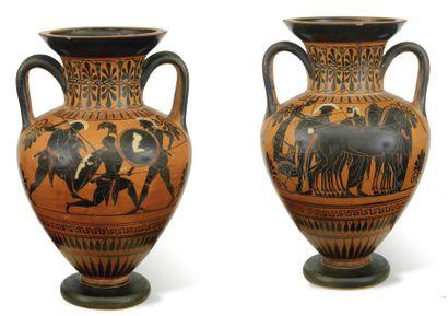 Amphore attribuée au Groupe de Léagros. Amphore à figures noires peinte sur une...