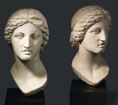 Artémis Colonna. Tête représentant la déesse Artemis. Le visage ovale présente des...