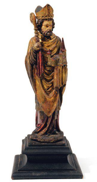 Saint Materne en bois sculpté en ronde-bosse,...