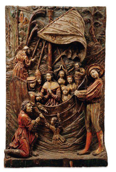 Très important haut-relief en bois de résineux...