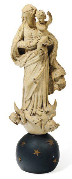 Vierge de l'Assomption en bois sculpté, polychromé...