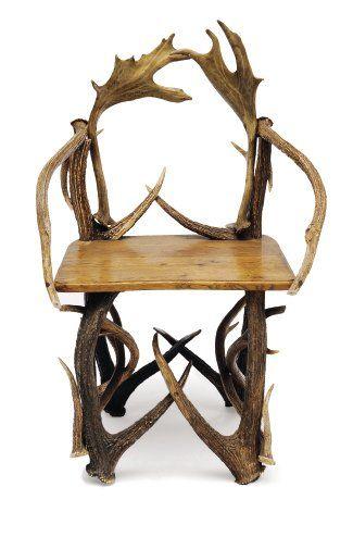 Fauteuil en bois de cerfs et daims, assise...