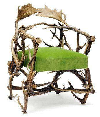 Fauteuil en bois de cerfs et de daims. Stoel...