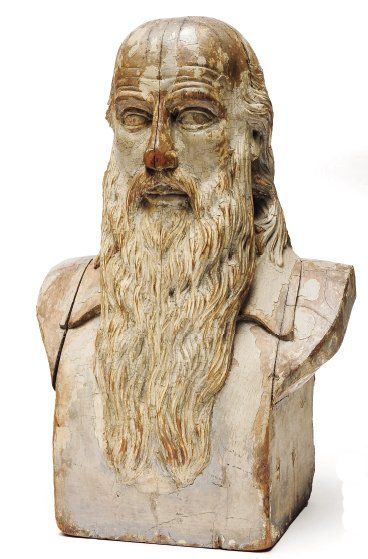 Socrate. Important buste en bois laqué blanc....