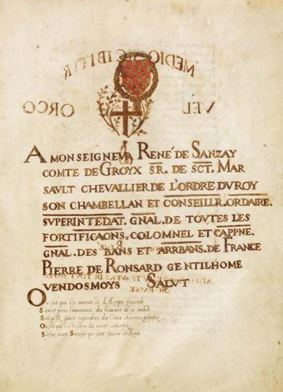 Manuscrit/ Ronsard (Pierre de)