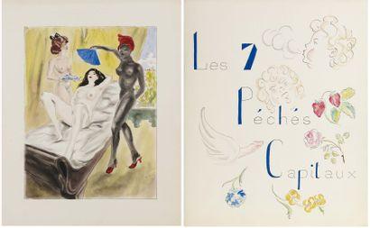 Les sept Péchés Capitaux 7 aquarelles originales,...