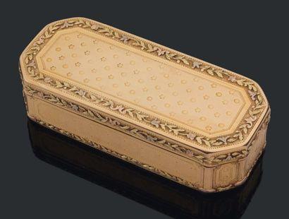 TABATIÈRE de forme rectangulaire à pans coupés...