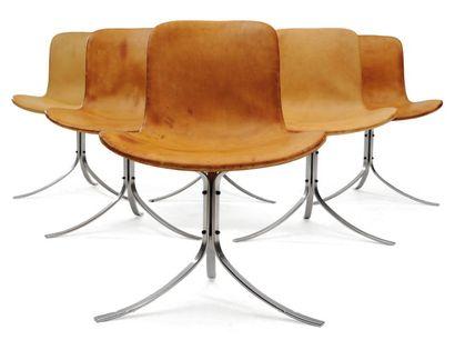 POUL KJAERHOLM (1929-1980) Suite de six chaises « PK 9 » à assises et dossiers en...