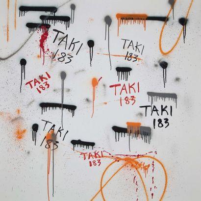 TAKI SANS TITRE, 2009 Peinture à la bombe, marqueurs H_140 cm L_140 cm Né en 1954,...