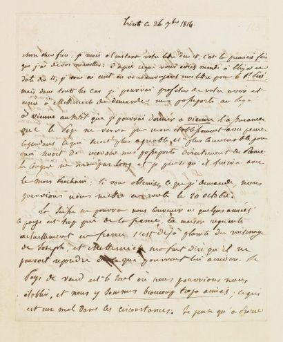 BONAPARTE JÉRÔME. Lettre autographe signée, 2 pages in-4 ; Trieste, 26 septembre...