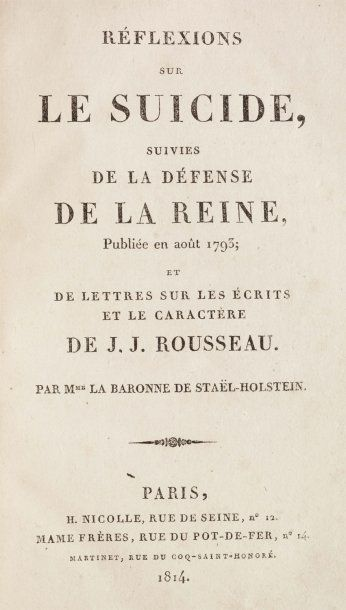 STAEL, Germaine Necker, dite Madame de.