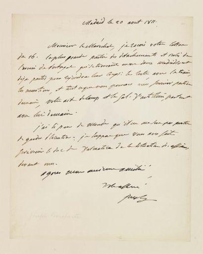 BONAPARTE JOSEPH. Lettre autographe signée « Joseph », 1 page in-4 ; Madrid, 20 août...