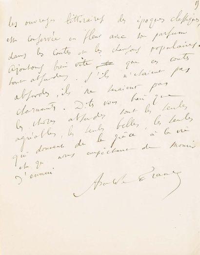 FRANCE Anatole (1844-1924) Ecrivain et critique littéraire français, prix Nobel.
