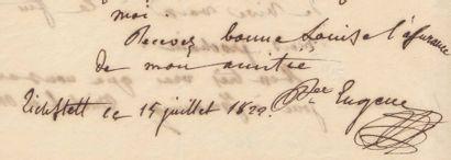 BEAUHARNAIS, EUGÈNE DE Réunion de cinq pièces autographes signées par lui ou par...