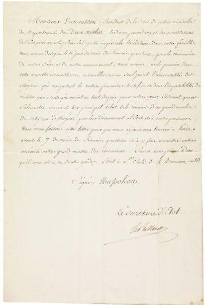 NAPOLÉON Ier, COURONNEMENT DE - 1804. Lettre...